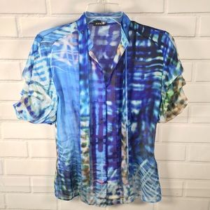 Akris Silk Watercolor Blouse Size Small 4